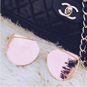 [Rose Gold] Mirror Chic Aviator Sunglasses